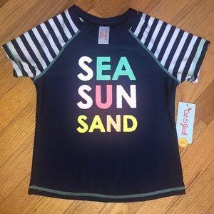 SEA SUN SAND swim shirt Large 10/12 Rash guard